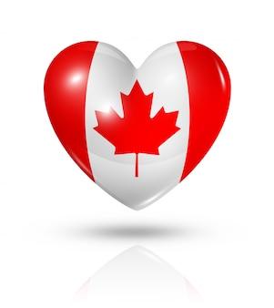 Amo el icono de la bandera del corazón de canadá