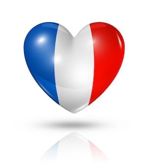 Amo el icono de la bandera del corazón de francia