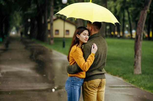 Amor abrazos de pareja en el parque, día lluvioso de verano. hombre y mujer parados bajo el paraguas, cita romántica en el sendero, clima húmedo en el callejón