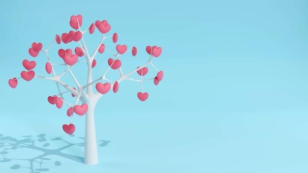 Amor del corazón del árbol en la tarjeta del día de san valentín. ilustración 3d de romance con la naturaleza de la belleza en febrero y copie el espacio para el texto.