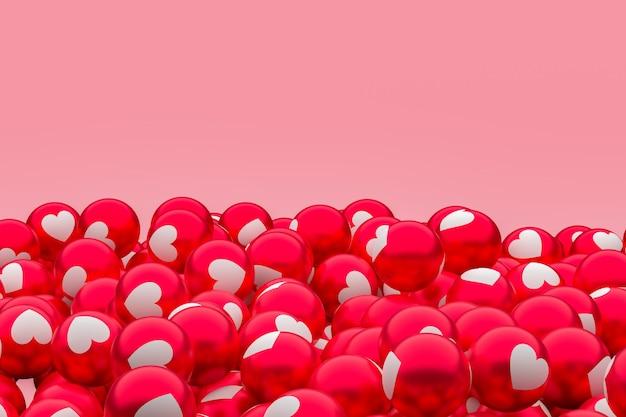 Amor facebook emoji 3d render fondo, símbolo de globo de redes sociales