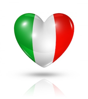 Amor italia icono de la bandera del corazón