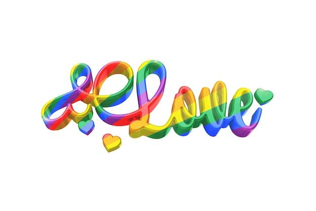 Amor lgbt color ord en superficie blanca