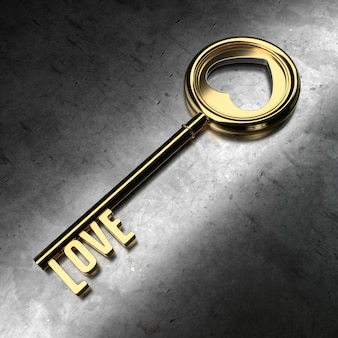 Amor - llave de oro sobre fondo negro metálico. representación 3d