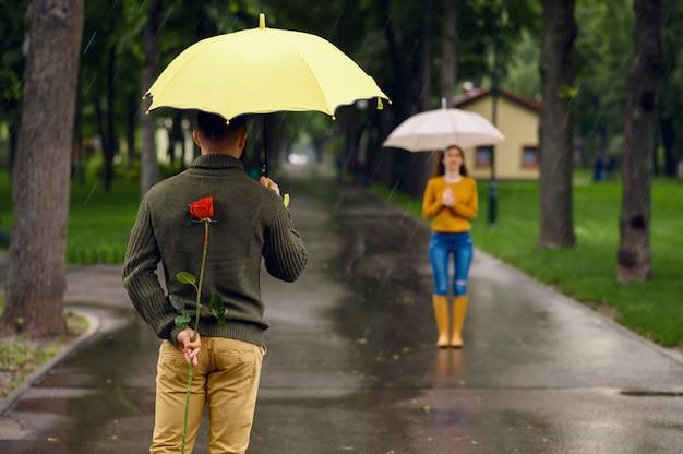 Amor pareja con sombrillas, cita romántica en el parque en día lluvioso. hombre con rosa roja esperando a su mujer en el sendero, clima húmedo en el callejón