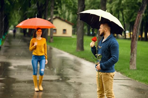 Amor pareja con sombrillas, cita romántica en el parque de verano en día lluvioso. hombre con rosa roja esperando a su mujer en el sendero, clima húmedo en el callejón