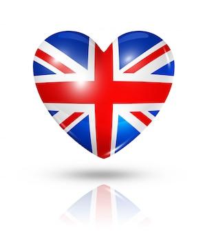 Amor reino unido icono de la bandera del corazón