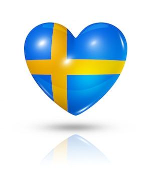 Amor suecia icono de la bandera del corazón
