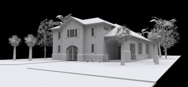 Amplia casa con jardín y piscina. modelo 3d en blanco sobre fondo negro