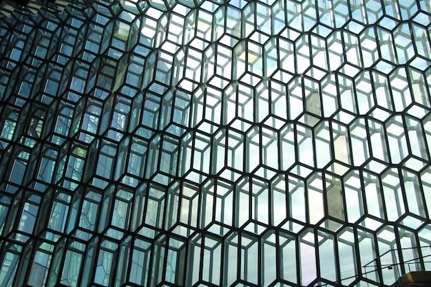 Amplia foto de primer plano de ventanas 3d en forma de cubo rectangular