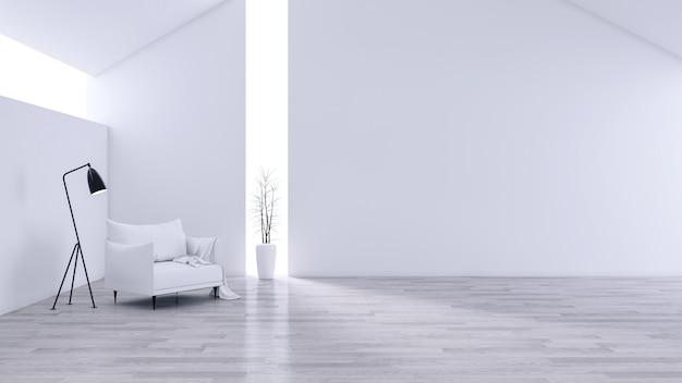Amplia sala de estar moderna y minimalista, interior en blanco y negro