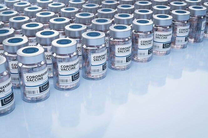 Ampollas con vacuna covid-19 en una mesa de laboratorio