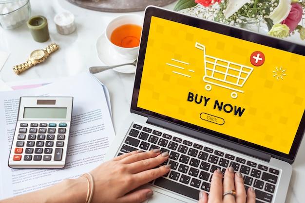 Añadir carro comprar ahora concepto gráfico de comercio en línea