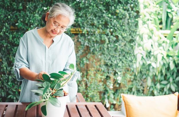 Una anciana asiática feliz y sonriente está plantando para un pasatiempo después de la jubilación