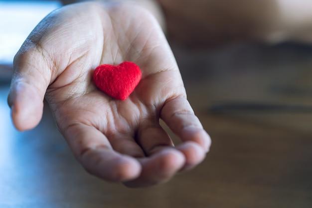 Ancianos manos femeninas dando poco corazón rojo.