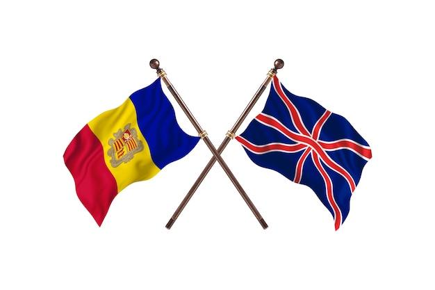 Andorra frente a fondo de banderas de dos países de reino unido