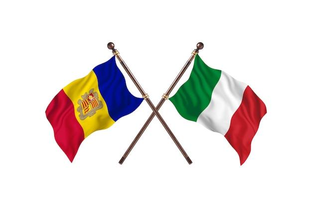 Andorra frente a italia dos países banderas fondo