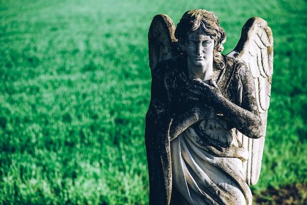 Ángel de la guarda sobre fondo de campo verde