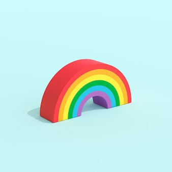 Ángulo isométrico del arco iris, concepto creativo mínimo, representación 3d