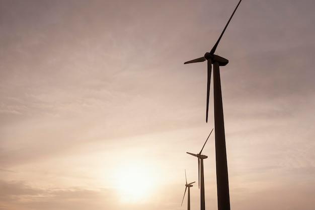 Ángulo bajo de turbinas eólicas al atardecer generando energía