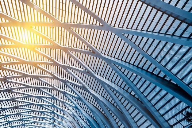 Bajo, ángulo, vista, edificio, techo
