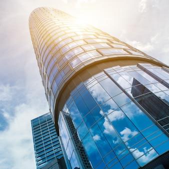 Bajo, ángulo, vista, moderno, oficina, edificios