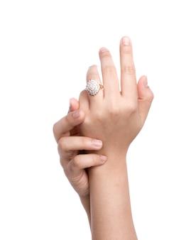Anillo de compromiso en la mano