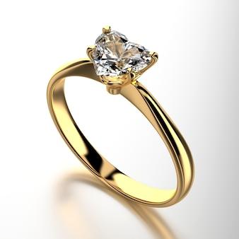 Anillo de diamante de oro de la forma del corazón aislado en el fondo blanco, representación 3d.