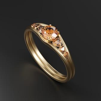 Anillo de diamantes de color ámbar de oro aislado sobre fondo negro 3d rendering