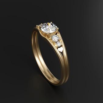 Anillo de diamantes de oro aislado sobre fondo negro representación 3d