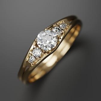 Anillo de diamantes de oro macro enfoque suave representación 3d