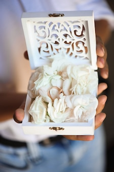 Anillos de boda como símbolo de amor y felicidad.