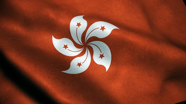 Animación 3d de la bandera de hong kong.