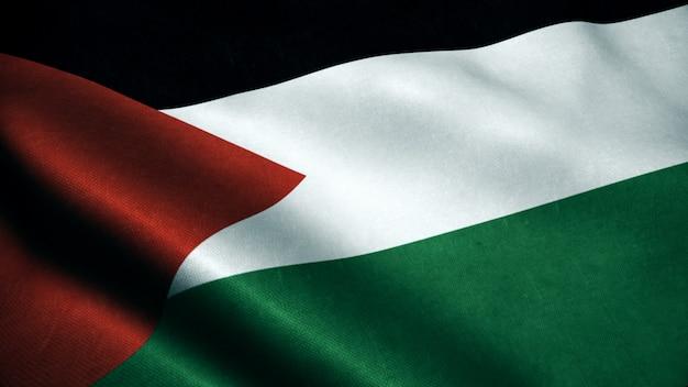 Animación 3d de la bandera de palestina. bandera realista de palestina ondeando en el viento.