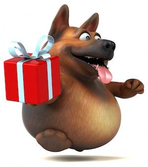 Animación divertida del perro pastor alemán
