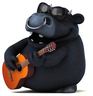 Animación divertida de toro negro