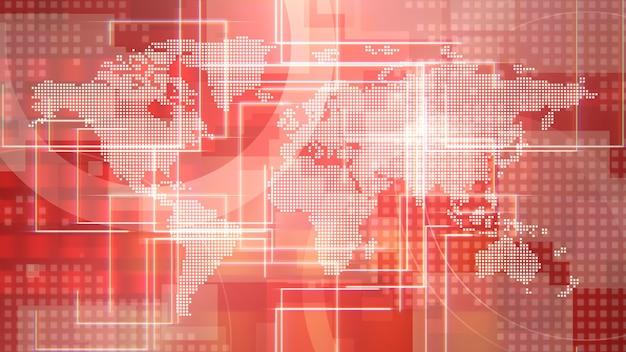 Animación gráfica de intro de noticias con cuadrícula y mapa del mundo, fondo abstracto. estilo de ilustración 3d elegante y de lujo para plantillas de noticias y negocios