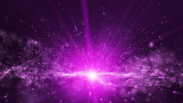 Animación de partículas digitales de polvo púrpura y haz de rayos de luz, se levanta una línea de partículas de esfera pequeña.