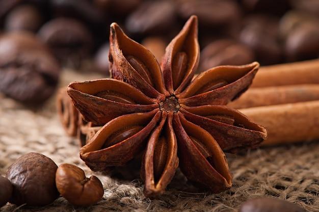 Anís, canela y granos de café sobre fondo de madera vieja