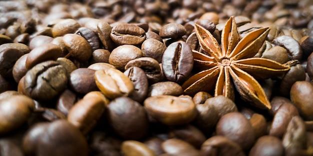 Anís estrellado, anís y granos de café tostado.
