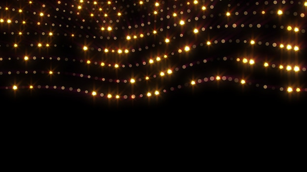 Año nuevo 2020. fondo bokeh. resumen de luces feliz navidad como telón de fondo. luz dorada brillante. partículas desenfocadas. aislado en negro cubrir. color dorado. líneas