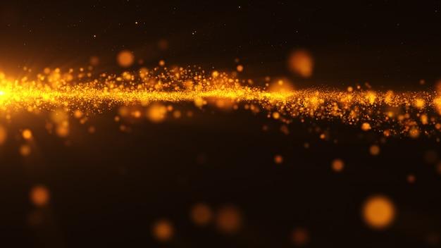 Año nuevo 2020. fondo bokeh. resumen de luces feliz navidad como telón de fondo. luz dorada brillante. partículas desenfocadas. aislado en negro cubrir. color dorado