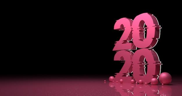 Año nuevo 2020 fondo de realismo 3d