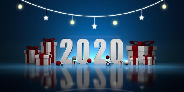 Año nuevo 2020. ilustración 3d