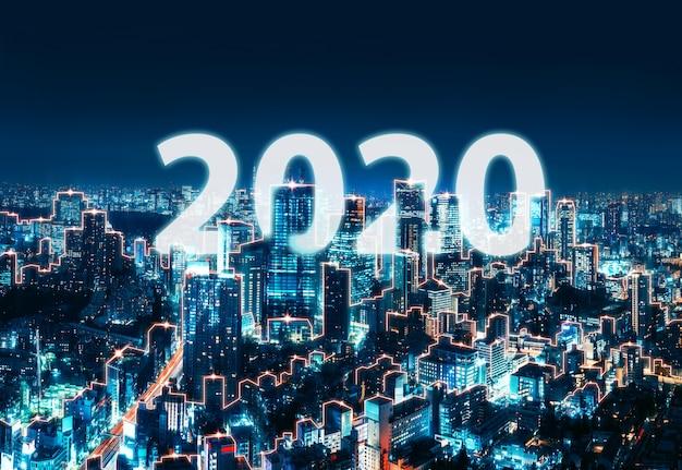 Año nuevo 2020 red y conexión ciudad de japón