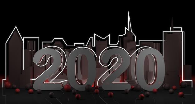 Año nuevo 2020 en la representación de fondo 3d de la ciudad de nueva york