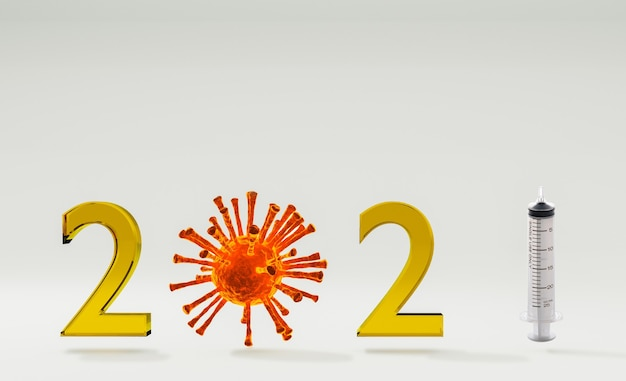 Año nuevo 2021 cerebrado entre brote de covid19 con vacuna en desarrollo, representación de ilustración 3d