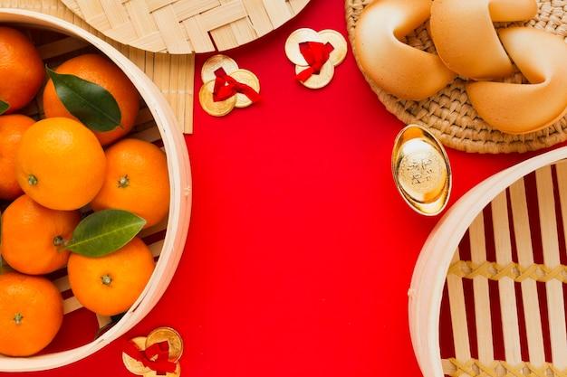 Año nuevo chino 2021 espacio de copia de comida