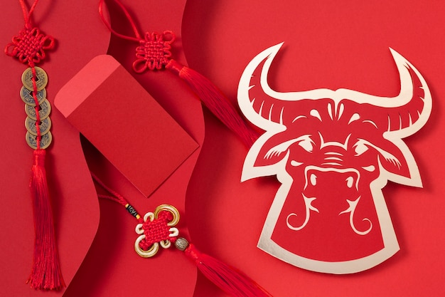 Año nuevo chino con concepto de buey