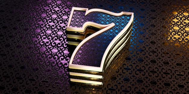 Antecedentes del concepto de un casino, un gran número siete en un adorno con luz de fondo de color.